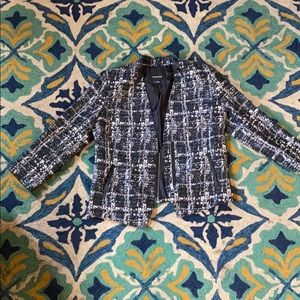 Work blazer with zipper and turquoise pop